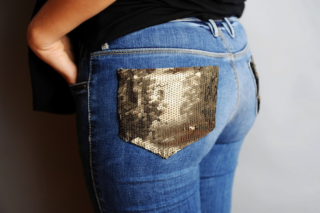 DIY Sequin Pocket Jeans