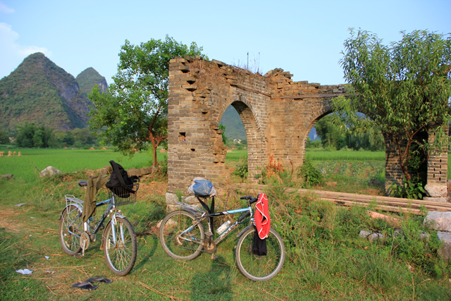 Heading out on our bikes in Yangshuo