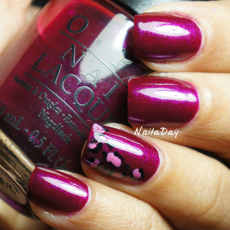 NailaDay: OPI Congeniality is my Middle Name with leopard print accent