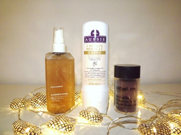 Kevin Murphy Shimmer Shine Spray, Aussie 3 Minute Miracle Shine Mask and Label M Brunette Resurrection Style Dust