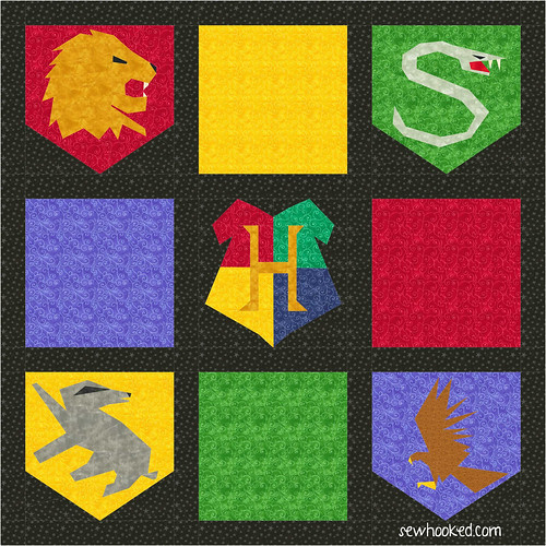 Hogwarts quilt using House & Hogwarts blocks
