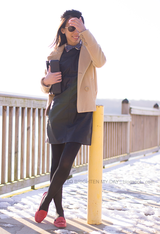 camel peacoat, polka dot bow tie, faux leather dress, red loafers