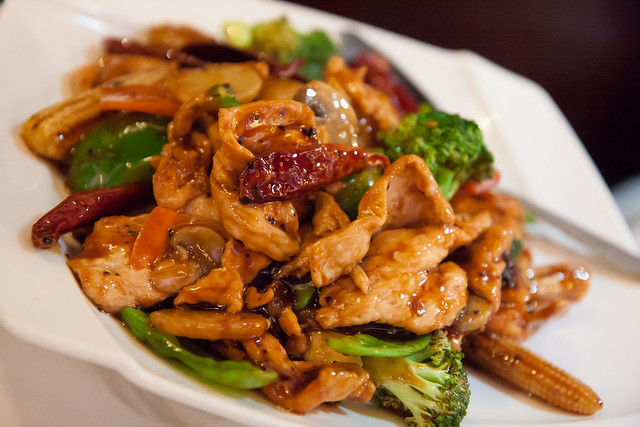 Sliced chicken and vegetables with spicy Hunan sauce, Lan Sheng