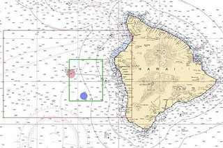A fisherman is safe ashore after his vessel ran out of gas and he spent the night adrift off the coast of Kailua-Kona, Hawaii, Wednesday. Area of interest illustration: The area of interest is the red box. The green box is the initial search pattern area.