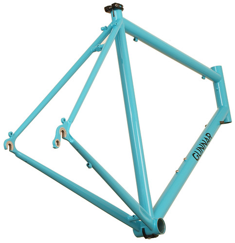 <p>Rear View of Gunnar Sport in Turquoise with Black Bullseye Decals.  The Sport's comfort fit, light weight and high fender clearance make it one of the best recreational road bikes you can ride.</p>