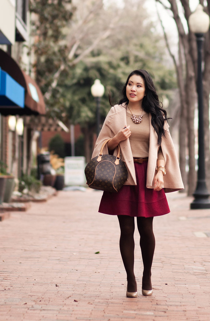 cute & little blog   sheinside cape, j. crew sweater, sheinside pleated wine flare skirt, bow belt, brown tights, louis vuitton ellipse   winter cold weather outfit