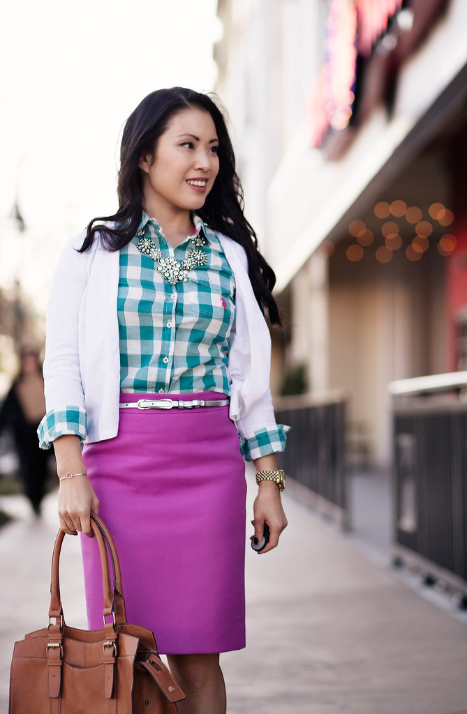 cute & little blog | spring colors | teal plaid shirt, pink pencil skirt, crystal statement necklace outfit