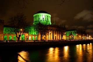 The Four Courts goes Green for Saint Patricks Day in Dublin
