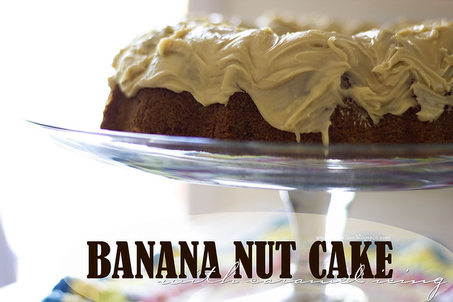 Banana nut cake with caramel icing