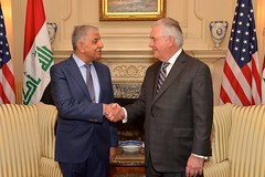 Secretary Tillerson Shakes Hands With Iraqi Minister of Oil Al-Luaibi Before Their Meeting in Washington