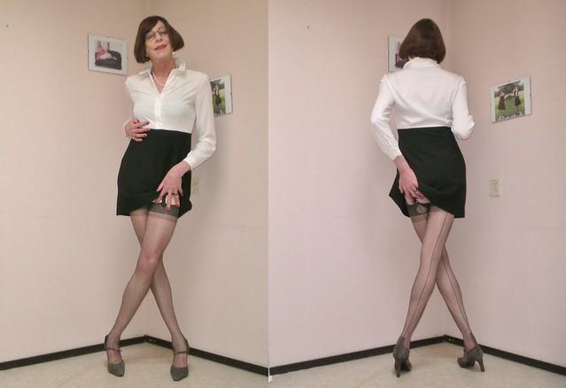 Wearing stockings.