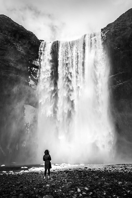 Skogafoss - Skogar, Iceland - Black and white street photography