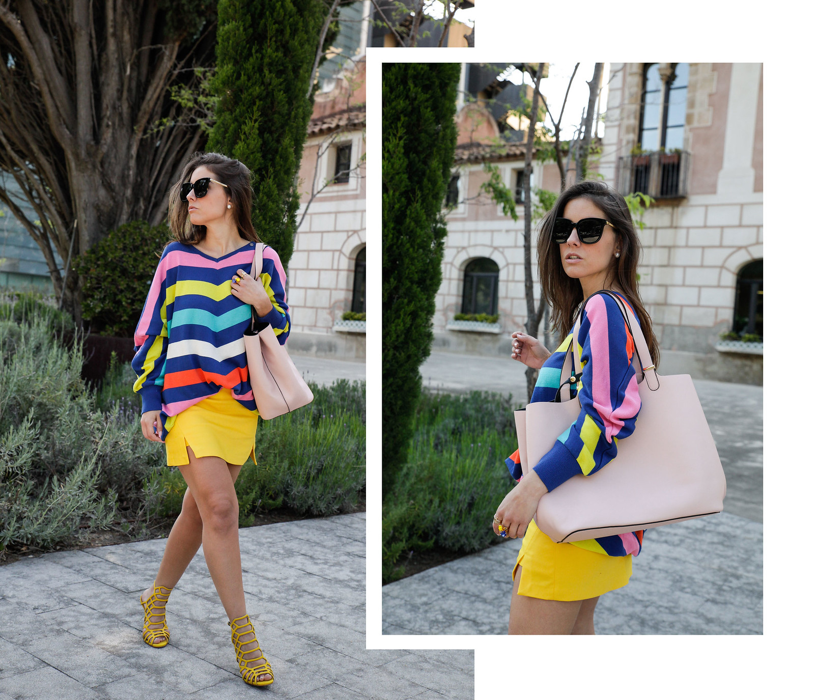 010_sweater stripes color yellow skirt_theguestgirl