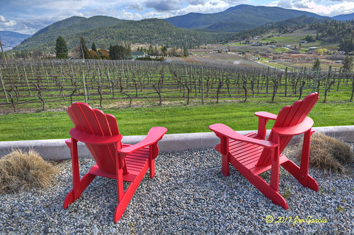 "view vineyard glass wine okanagan summer joeinpenticton joe jose garcia summerlad bc british columbia nine yard okanogan spring winery ""bottle neck drive"" bottle drive orchard farm spray spraying tree trees crop stream train kettle valley kvr railroad rail road ""the spirit summerland"" cpr canadian pacific way ""thornhaven estate winery"" thornhaven wnery "" steam adirondack red chair chairs hdr three exposure 3 handheld hand held estates thorn haven hawthorne mountain mount"