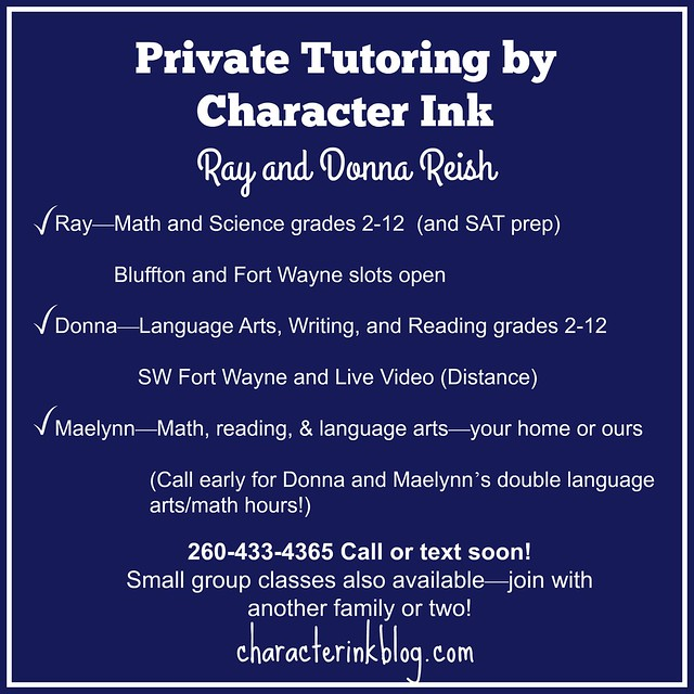 Private Tutoring by Character Ink 2017
