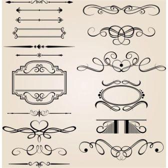 free Vector set of calligraphic design elements
