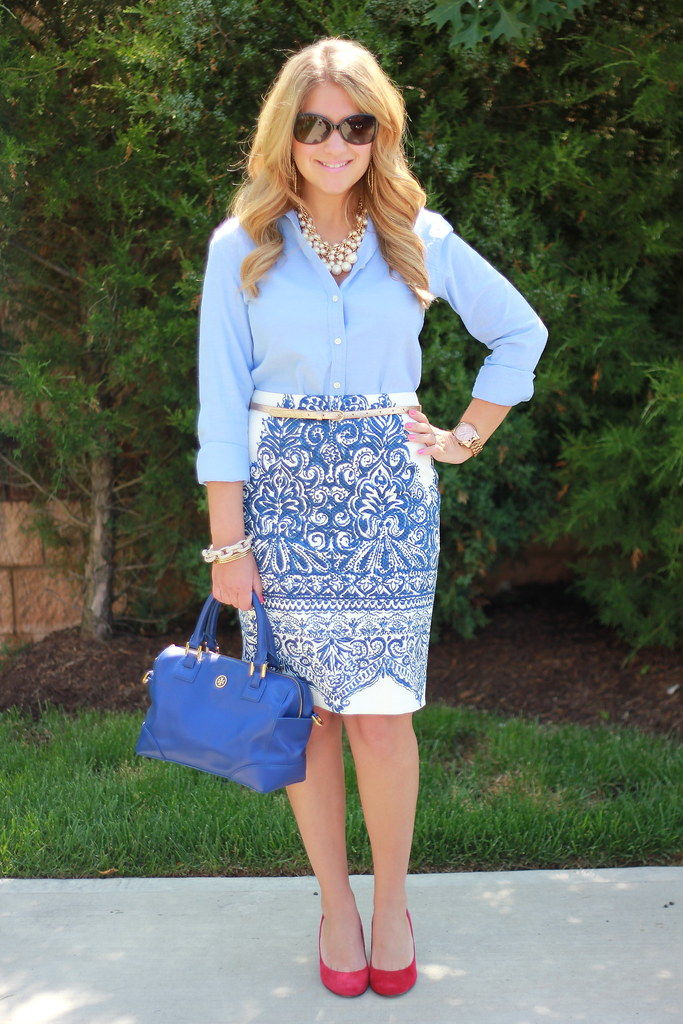 j crew porcelain paisley skirt chambray top work outfit