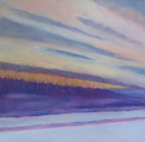 Winter Drive at Sunset (Oil Bar Painting as of June 12, 2013) by randubnick