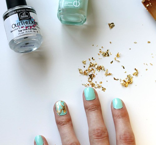 Easy gold leaf nails