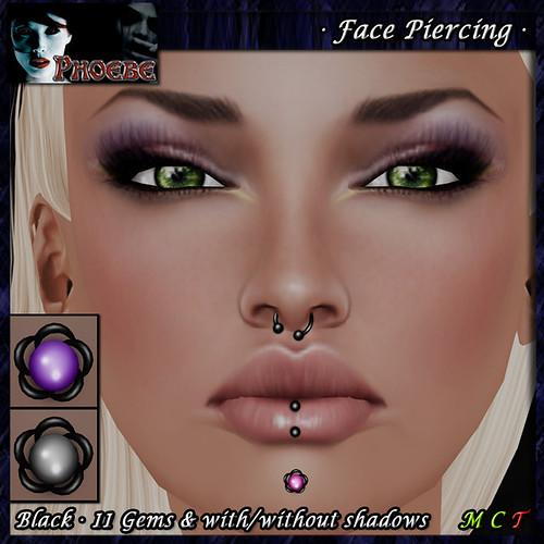 *P* Woman Face Piercing Q8 ~Black-11 Gems~