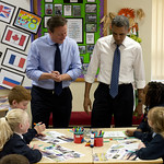 PM with President Obama at Enniskillen Primary school