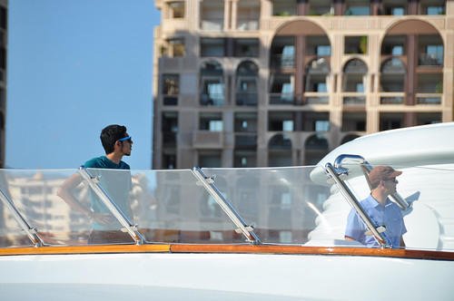 Graduate student Jahshan Bhatti and Professor Todd Humphreys inspect the sun deck where the spoofer will broadcast fake GPS signals towards the ship's GPS antennas.