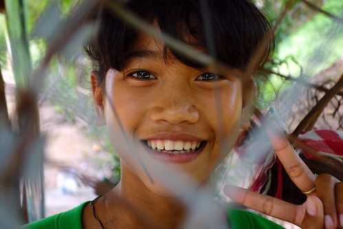 Girl at Killing Fields in Cambodia