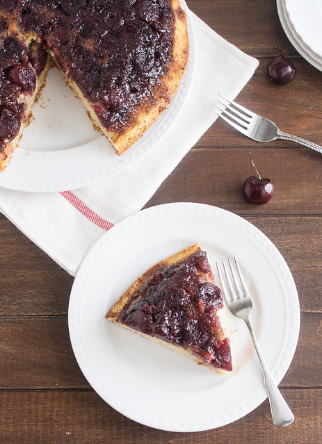 Cherry-Cornmeal Upside-Down Cake | Tracey's Culinary Adventures
