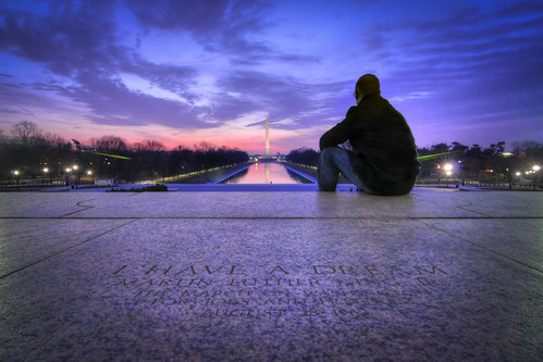 reflection monument sunrise reflecting washingtondc dc washington districtofcolumbia nikon memorial unitedstates tokina lincoln lincolnmemorial dcist mlk hdr martinlutherking marchonwashington d300 ihaveadream photomatix august28 august281963 1116mm meinhdr mow2013
