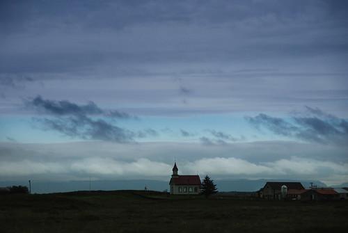 sunset church clouds iceland kirkja hraungerðiskirkja flóahreppur