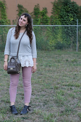 """Blush and Lace outfit: rose-colored denim Gap jeans, Jeffery Campbell """"Everly"""" black leather open ankle boots, Phillip Lim for Target bag, Kate Spade polka-dot iPhone case, Anthropologie gray sweatshirt with white lace detail"""
