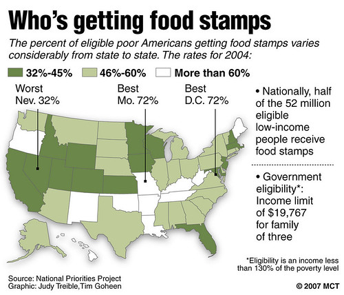 A map showing what percentage of eligible people are receiving food stamps, the Supplemental Nutritional Assistance Program (SNAP), throughout the United States. The House voted to cut 4 million from the program. by Pan-African News Wire File Photos