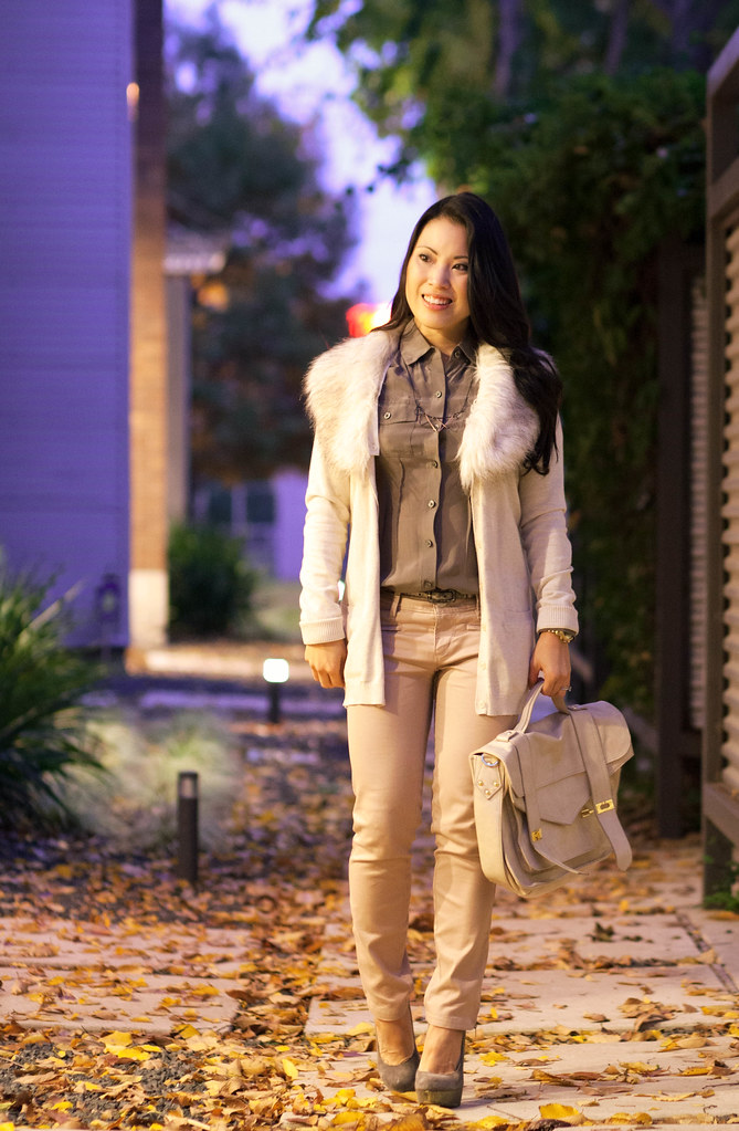 cute & little blog | pastel outfit | fall trend | faux fur cardigan, taupe shirt, pink pants