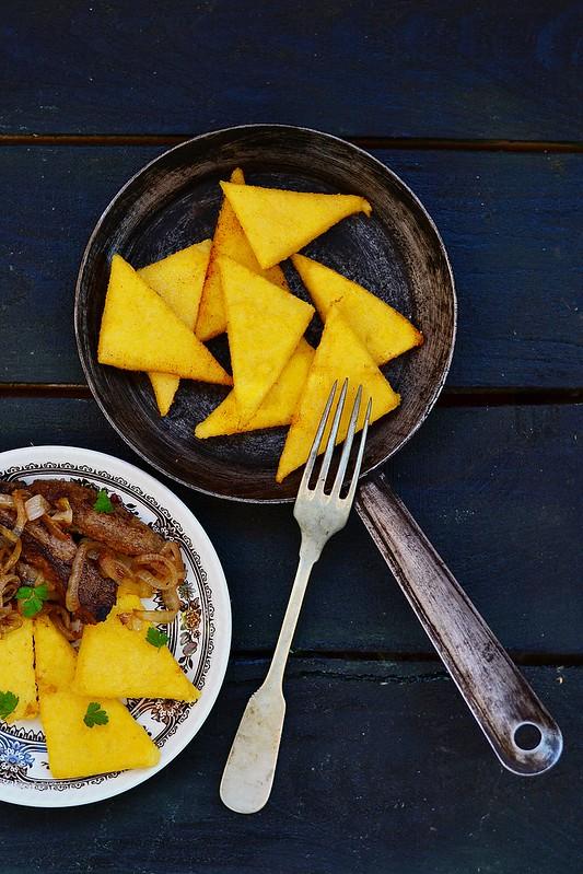 polenta and fried liver.4