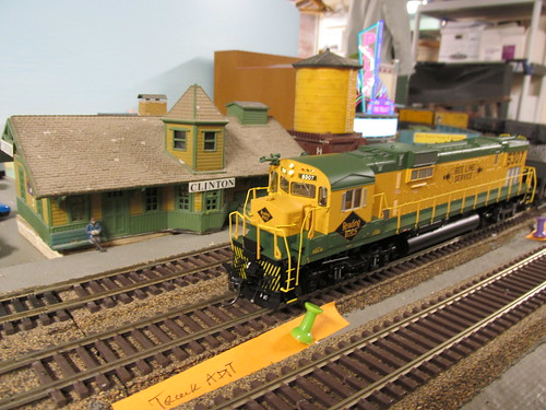 A Reading Railroad freight train passing the Clinton station on the club layout. by Eddie from Chicago