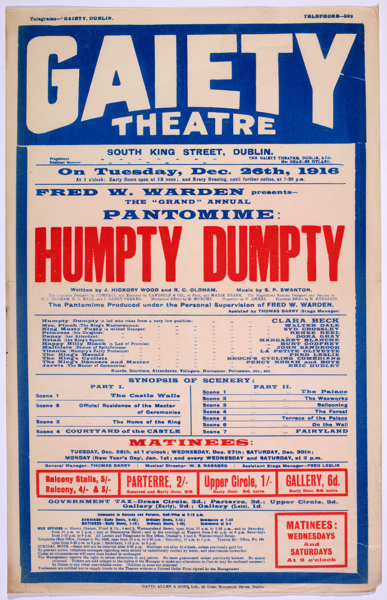 Pastomime - Humpty Dumpty (a lad who rises from a very low position)