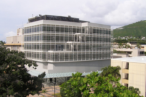 <p>The Information Technology Center's ground level is shaded by a permanent glass canopy that wraps around the makai and Diamond Head sides of the building.</p>