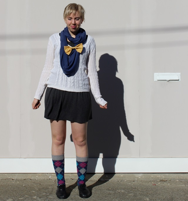 Blue Circle Scarf, White Fuzzy Knit Sweater, Short Grey Skirt, Yellow Bow Brooch, Blue & Purple Argyle Socks - OOTD 12/29/2013