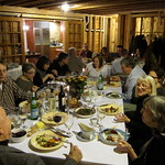 Thanksgiving dinner, two tables