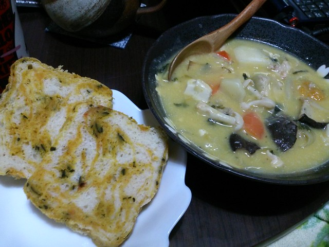 Photo:今日の夕飯はかぼちゃパンときのこシチュー By Norisa1