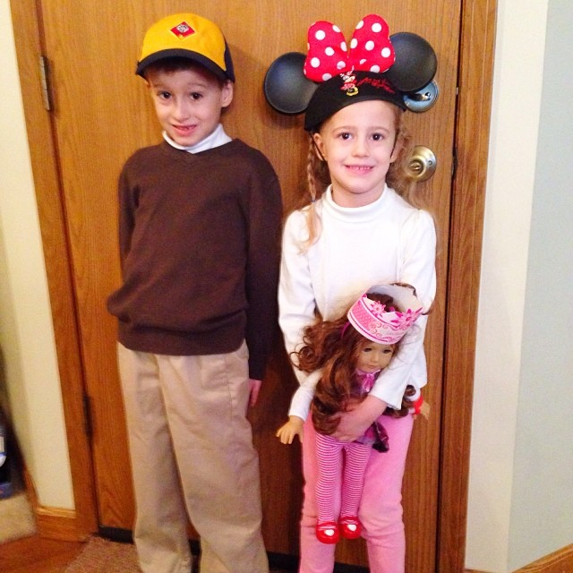 Spirit Day 1: Hat Day! Nathan is wearing his new Wolf Boy Scout hat and Autumn has on her Minnie Mouse hat from our Disney trip. Oh, Annnnd if you look closer, Saige has on a hat, too! It was the birthday hat Autumn got for her doll when we ate at the AG