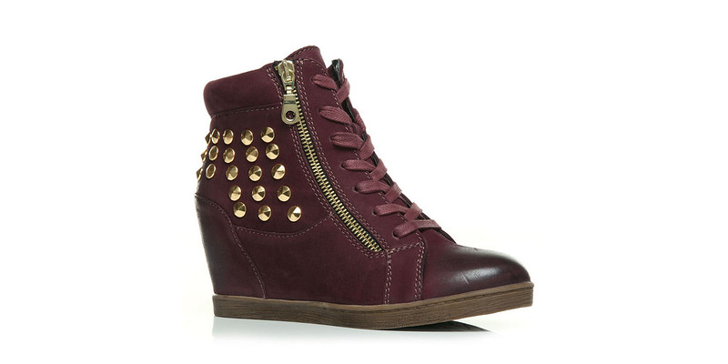 Moda in Pelle Crosby Burgundy Wedge Trainers