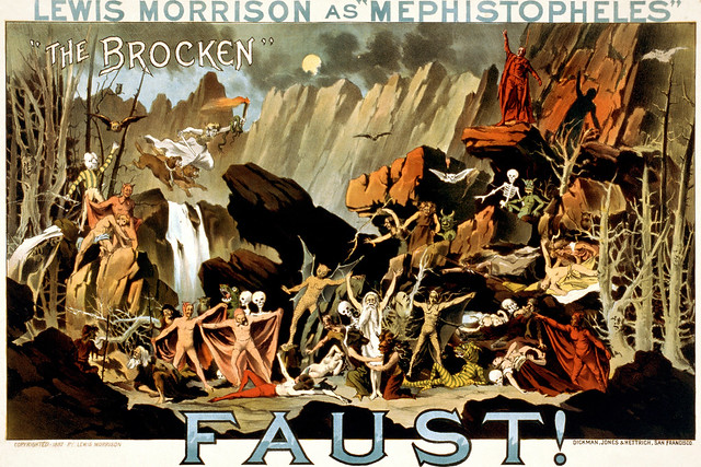 Poster for a stage performance of Goethe's Faust showing Walpurgisnacht, created 1887 by Dickman, Jones & Hettrich.