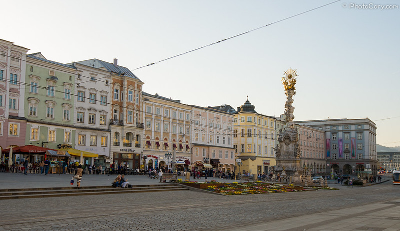 the city center in Linz, Austria