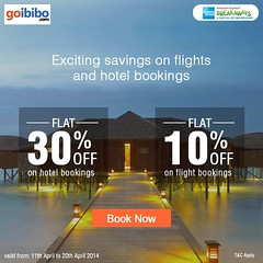 Flat 30% Off on hotels & 10% Off on flight bookings