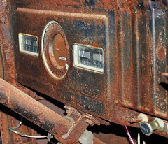 Dashboard, rusted-out 1950s Dodge truck - public art, Distillery District, Toronto