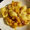 Pancetta and kabocha pasta tonight! It's excellent use of a large chunk of kabocha I didn't feel like braising.