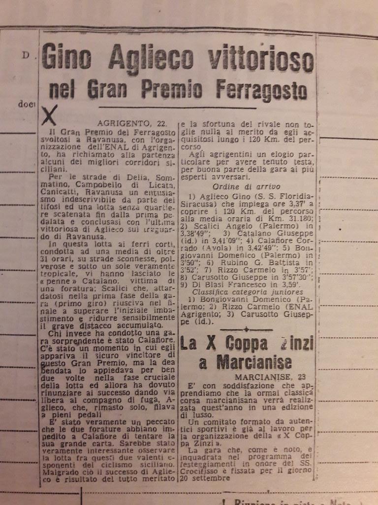 Gino Aglieco vittorioso nel Gran Premio Ferragosto