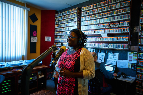 Pearl Ricks on the air. Photo by Eli Mergel