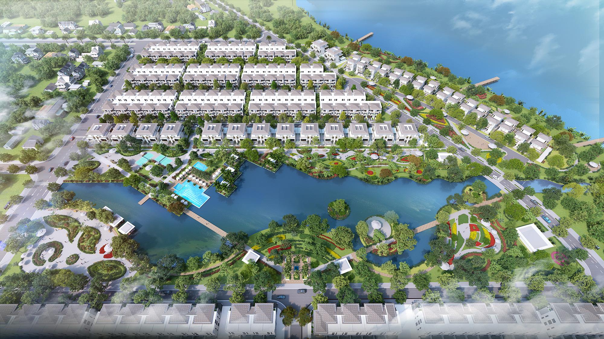 Phối cảnh dự án Lavila Kiến Á từ trên cao.